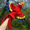 scarlet macaw hand puppet crochet scarf pattern