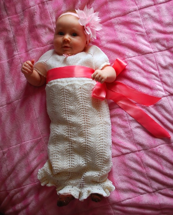 Eliana blessing dress free baby christening gown knitting pattern