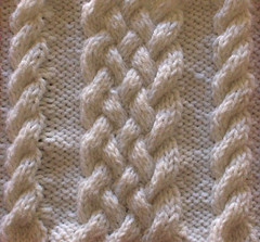ropes and braid cable motif free knitting pattern