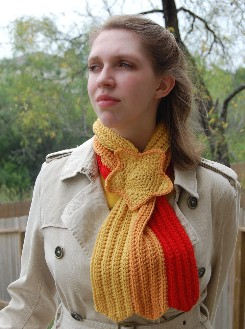 shooting starf ribbed crochet scarf pattern